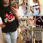 Women's Mickey Minnie Mouse Casual T-Shirt Short Sleeve Blou