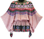 Pink Purple Paisley Poncho Multi Color Top Summer Beach NEW Womens Sizes S M L