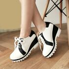 Womens Wedge High Heels Platform Round Toe Contrast Color Lace Up College Shoes