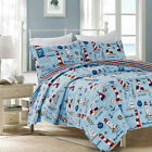 Twin Full Queen King Red Blue Lighthouse Sailboat Beach 3 pc Quilt Set Coverlet image