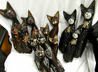 HAND CARVED SET 3 WOODEN CATS FAIRTRADE 4 TYPES GLITTER, CLOVER, SQUIGGLE, PLAIN