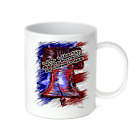 Coffee Cup Travel Mug 11 15 Oz Patriotic USA Liberty Bell Life Pursuit Happiness