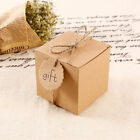 100 Eco Kraft Small Natural Gift Boxes Wedding Favour Bags With String Tags 7cm