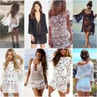 Women Summer Lace Crochet Bikini Cover Up Tops Swimwear Bath