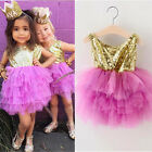 USA Sequins Toddler Kids Girls Backless Ruffle Tulle Party Pageant Dresses 2-7T
