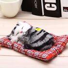 Stuffed Toy Lovely Simulation Sleeping Cat Craft Toy with Sound Ki