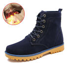 Mens Winter Suede Martin Snow Boots Outdoor Casual Warm Fur Lined High Top Shoes