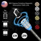 US 3/6FT 2.4A Magnetic LED USB-C Type C/IOS/ Micro USB Round Fast Charger Cable