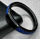 Police Officer Lives Matter Thin Blue Line Leather Magnetic Steel Bracelet 8.5""
