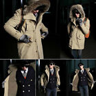 Winter Men Down Cotton Coat Thicken Warm Outwear Parka Hooded Fur Collar Jacket