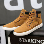Men's Canvas Ankle Boots Winter Casual Flat Lace-up High Top Sneakers plus size