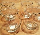 "Lot of 4 Vase 5"" Round Ruffled Rim Glass Anchor Hocking+ Wedding Shower Party"