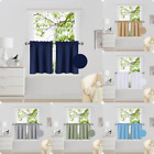 2PC Rod Pocket Short Window Treatment Curtain Insulated Blackout Set 30