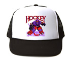 Trucker Hat Cap Foam Mesh Sports Hockey Player Goal Goalie Design 1