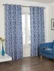 Ready Made Blue Diamond Print Curtains Ring Top Eyelet Lined Living Sizes