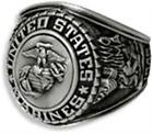 US MARINE CORPS SIGNET RING ANTIQUED SILVER (SP) INSIGNIA WITH RHODIUM FINISH