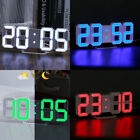 LED Digital Numbers Wall Clock with 3 levels Brightness Alarm Snooze Clock US