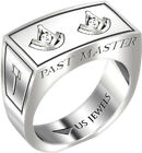 Men's Sterling Silver 8mm Freemason Past Master Mason Ring Band Size 8 to 13.5