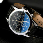 Men's Leather/Steel Formal Casual Analog Quartz Wrist Watch Suite Watches