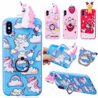 iphone 5 3d covers - 3D Cute Cartoon Ring Holder Silicone Phone Case Cover For iPhone X 7 Plus 8 6s 5