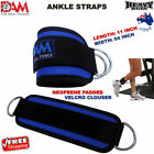 DAM WEIGHTLIFTING ANKLE D-RING PULLEY CABLE ATTATCHMENT GYM LEG STRAPS PAIR BLUE