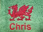 Personalised Custom Machine Embroidered Towels 'Welsh Dragon'
