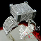 LADIES 14K WHITE GOLD ON REAL SILVER SQUARE 3D CUBE COCKTAIL PROPOSAL RING BAND