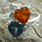 Simulated Tanzanite & Padparadscha 925 Silver Ring Jewelry Size 6-9 DGR1071_Q