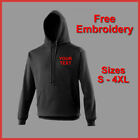 PERSONALISED BUSINESS WORK WEAR QUALITY TEXT EMBROIDERED HOODY BLACK NAVY GREY