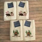 Guest Hand Towels Cabin Lodge Camp Set of 2 Embroidered You Choose Pattern NEW