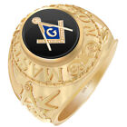 10k or 14k Yellow or White Gold Master Mason Onyx Polish Freemason Masonic Ring