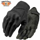 Men Cruiser Style Perforated Short Summer Leather Gloves with Knuckle Protection