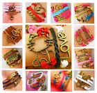 open heart surgery games - Leather Animal Music Games Infinity Cross Bronze Charms Bracelet Free Gift Bag