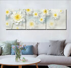 White Flower Blooms Painting Abstract Art Print Canvas Wall Decor Set Frame 1873