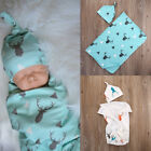 Cute Newborn Infant Baby Deer Blanket Sleeping Muslin Wrap Swaddle Headband Sets