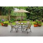 6 seat table - Dining Table Set Umbrella 6 Pcs Folding Chair Garden Patio Seat