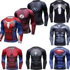 Men Marvel Superhero T Shirts Compression Top Spandex Long Sleeve Cosplay Tights