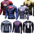 Men's Marvel Superman T Shirts Fitness Workout Gym Cosplay Tee Crew Neck Tights