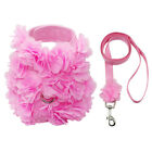 Soft Breathable Puppy Dog Harness Lead Leash Set Pink Flower Adjustable Small