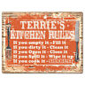 PPKR0733 TERRIE'S KITCHEN RULES Chic Sign Funny Kitchen Decor Birthday Gift