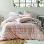 NEW Blush Boho Tassels Linen Blend Quilt Cover Set Accessorize Quilt Covers