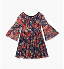 Rare Editions Girls' Dress Floral-Print on Navy Blue Lace Sizes 8