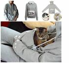 Women Hoodie Large Pocket Pet Dog Cat Kangaroo Holder Carrier Coat Pouch Tops LH