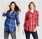 Isabel Maternity Ingrid & Isabel Plaid Popover Tunic Red Blue XS S M L XL