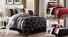 NEW BED COLLECTION 3PC EMBROIDERY DUVET COMFORTER BED COVER SET W/ PILLOW SHAMS image