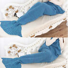 Mermaid Tail Blanket Handmade Knitted Sofa Crocheted Quilt Kid Baby Fish Scale
