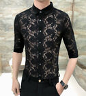 Men's Soft Lace Trendy Half Sleeve Shirt Button Front Slim Fit Casual Tops M-3XL