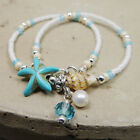 Boho Shell Starfish Silver Pearl Beads Beach Conch Chain Anklet Bracelet Jewelry