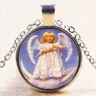 Angel Baby Kisses Photo Cabochon Tibetan Silver Pendant Necklace Free Gift Bag