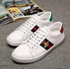 Mens Trendy Embroidery Bee Snake Sports Sneakers Leather Athletic Lace up Shoes
